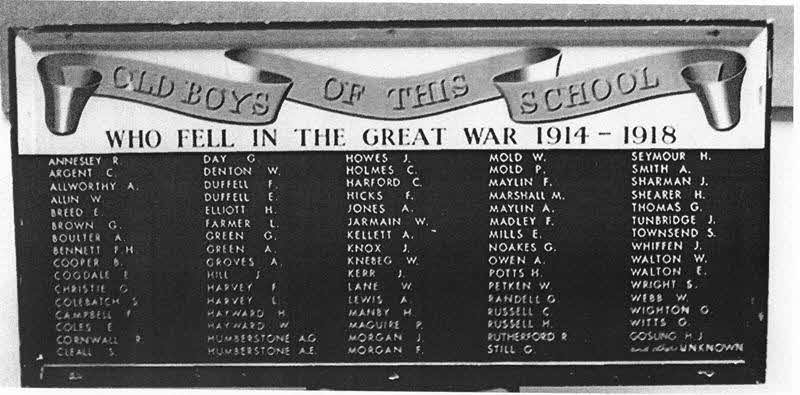 Mayville School WW1 dead
